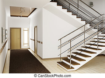 Interior with stair 3d - Modern interior of hall with stair...