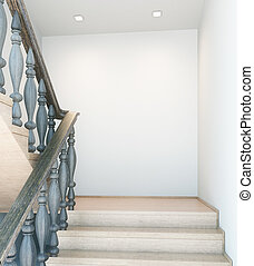 Interior with stairs and empty wall