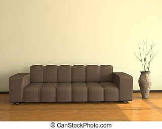 Interior with the big sofa and a vase