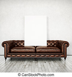Interior with vintage sofa and poster. 3D rendering
