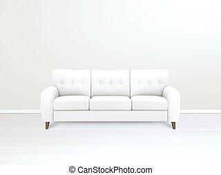 Interior With White Leather Sofa Illustration