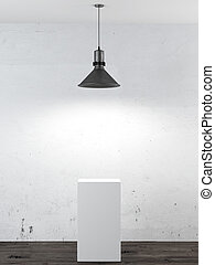 Interior with white stand  and ceiling lamp. 3d render