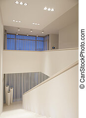 Interior with white walls - Vertical view of luxury interior...