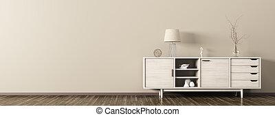 Interior with wooden dresser 3d rendering