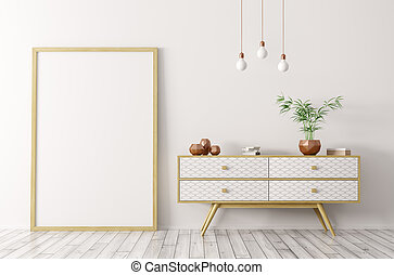 Interior with wooden sideboard and mock up frame 3d rendering