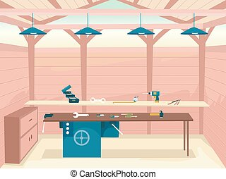 Interior Wood Work Shop Illustration