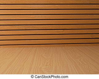 interior wooden background in 3D illustration