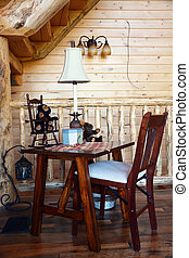 Interior- wooden chair in the cabin