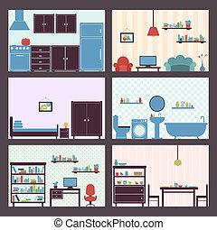 interiores, jogo, apartamento