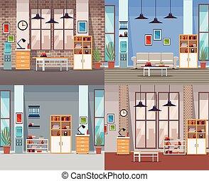interiores, jogo, escritório
