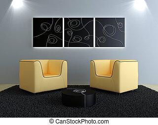 Interiors design - Peach seats and black modern decorations...