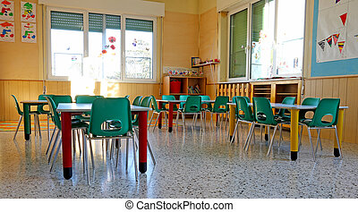 interiors of a kindergarten class with the chairs and children's