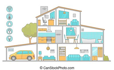 Interiors room with furniture. Flat style vector...