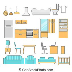 Interiors room with furniture. Flat style vector illustration