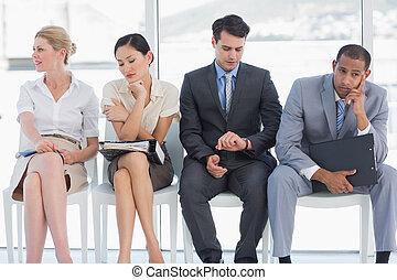 interjú, emberek, munka, négy, várakozás, ügy
