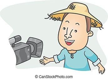 interjú, fényképezőgép bábu, farmer