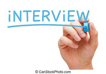 interjú, kék, könyvjelző