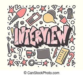 interjú, tervezés, vektor, poster., illustration.