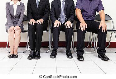 interjú, várakozás, munka, emberek
