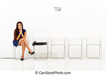 interjú, várakozás, nő, alkalmazás, ázsiai