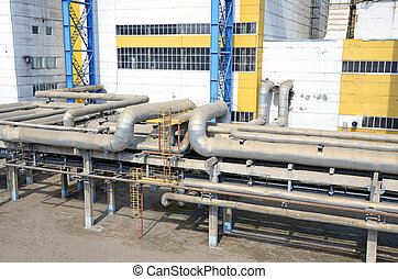 interlacing of huge, industrial pipes in the factory