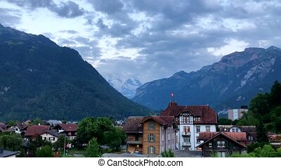 Interlaken evening panorama, mountains at background