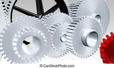 Interlocking gears in motion