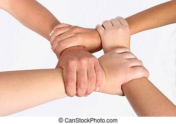 interlocked, hænder