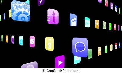 Interlocking application icons - Interlocking computer...