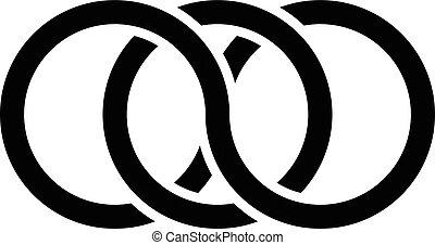 Interlocking circles, rings contour. Circles, rings concept ...