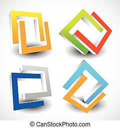 Interlocking colorful U shapes. Generic icons, design...