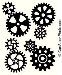 Interlocking gears and cogs design.