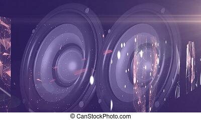interlocuteurs, écran, connexions, stéréo, contre, vibrer, réseau