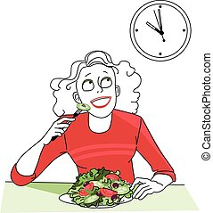 Woman, practicing intermittent fasting, looking at the clock, waiting for a time to start eating, EPS 8 vector illustration