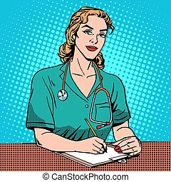 Intern front Desk at the hospital. Pop art retro style. Medicine and health. The reception at the doctor. Adult, middle-aged woman Caucasian