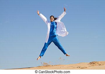 intern, springt, op, strand