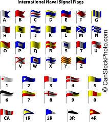 internacional, banderas de la señal, naval
