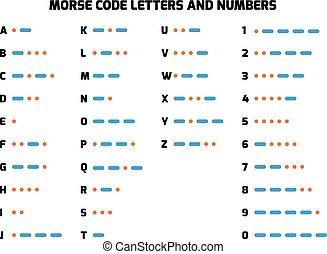 internacional, código morse, alfabeto, con, números