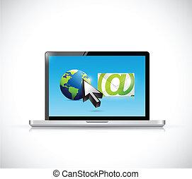 internacional, computador, email, rede
