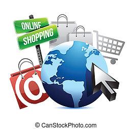 internacional, concepto, ir de compras en línea directa