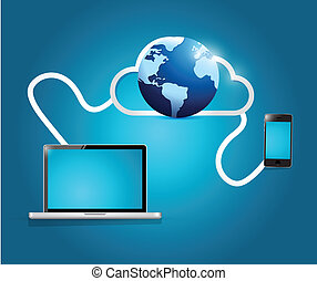 internacional, conexão, tecnologia, nuvem