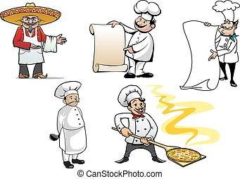 internacional, cozinheiros, caricatura, caráteres