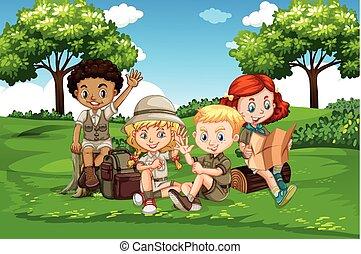 internacional, crianças, acampamento, natureza