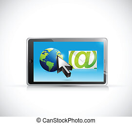 internacional, email, comunicación, ilustración