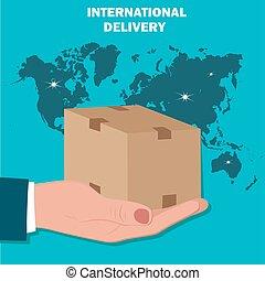 internacional, entrega, plano, diseño