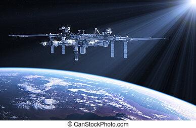 internacional, estación, rayos sol, espacio