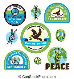 internacional, etiquetas, paz, dia