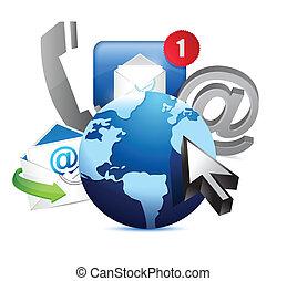 internacional, globo, comunicación, concepto