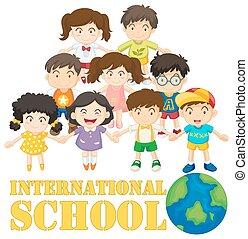 internacional, muitos, crianças escola, cartaz