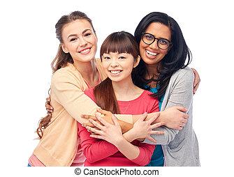 internacional, mujeres, grupo, abrazar, feliz